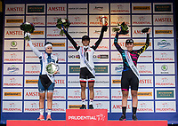 Germany's Lisa Brennauer of Canyon Sram Racing Team, Coryn Rivera of USA and Team Sunweb and Finland's Lotta Lepisto of Cervelo Bigla Pro Cycling Team wave from the podium following their wins in the Prudential RideLondon Classique 29/07/2017<br /> <br /> Photo: Tom Lovelock/Silverhub for Prudential RideLondon<br /> <br /> Prudential RideLondon is the world&rsquo;s greatest festival of cycling, involving 100,000+ cyclists &ndash; from Olympic champions to a free family fun ride - riding in events over closed roads in London and Surrey over the weekend of 28th to 30th July 2017. <br /> <br /> See www.PrudentialRideLondon.co.uk for more.<br /> <br /> For further information: media@londonmarathonevents.co.uk