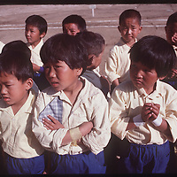Photo by David Stephenson.  Tibetan school children participate in festivities at annual Tibetan Children Village celebration in Dharamsala, India, in 11/91.