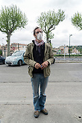 person outdoors for food shopping portrait during Covid 19 crisis France Limoux April 2020