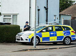 © Licensed to London News Pictures. 23/07/2018. Rochford, UK. Police at a property in Rockford where a woman has been arrested on suspicion of murder after child died  The victim was taken to hospital by Air Ambulance but died shortly afterwards.  Photo Credit Simon Ford/LNP