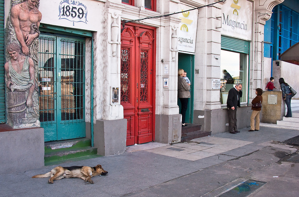 A captured moment in the everyday life of a Buenos Aires street. The picture could be divided into four separate parts: the dog lies indifferent to the whole world, the mother and child who look out of the door, the two chatting neighbors, and again a mother and child.