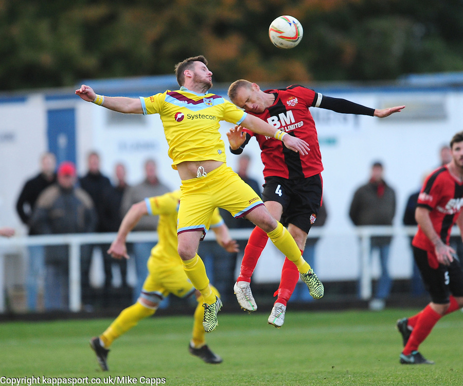 KETTERING BRETT SOLKHON HOLDS OF WEYMOUTHS STEWART YETTON, Kettering Town v Weymouth, Evostick Southern League Premier, Latimer Park Saturday 22nd October 2016<br /> Score 3-1