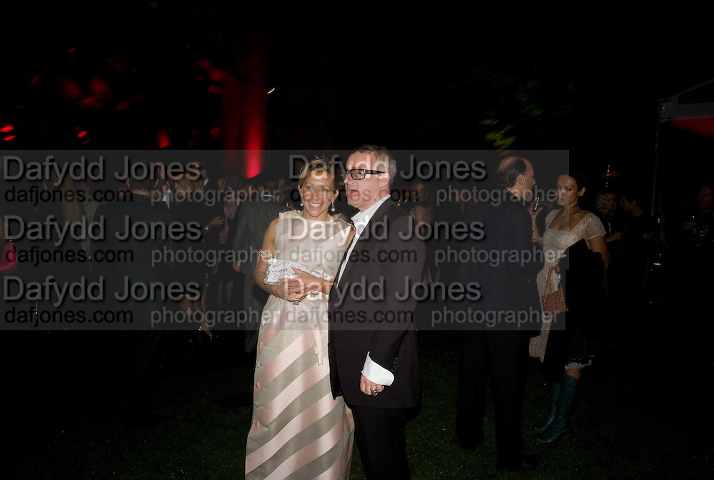 MAIA NORMAN; DAMIEN HIRST, The Summer Party. Hosted by the Serpentine Gallery and CCC Moscow. Serpentine Gallery Pavilion designed by Frank Gehry. Kensington Gdns. London. 9 September 2008.  *** Local Caption *** -DO NOT ARCHIVE-© Copyright Photograph by Dafydd Jones. 248 Clapham Rd. London SW9 0PZ. Tel 0207 820 0771. www.dafjones.com.
