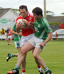 Ballintubber&rsquo;s Alan Dillon and Charlestowns collide during the club football championship clash at the weekend.<br />Pic Conor McKeown