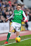 Oli Shaw (#32) of Hibernian in action during the William Hill Scottish Cup 4th round match between Heart of Midlothian and Hibernian at Tynecastle Stadium, Gorgie, Scotland on 21 January 2018. Photo by Craig Doyle.