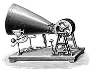 Phonautograph (c 1857) apparatus for studying sound vibrations graphically, invented by (Edouard) Leon Scott de Martinville.   Vibrations produced in cone traced on lamp blacked  cylinder. Engraving, c1880.