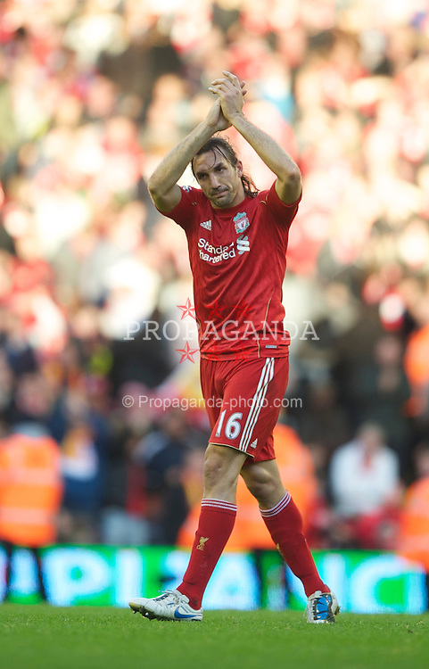 LIVERPOOL, ENGLAND - Sunday, October 24, 2010: Liverpool's goalscorer Sotirios Kyrgiakos celebrates his side's 2-1 victory over Blackburn Rovers during the Premiership match at Anfield. (Photo by David Rawcliffe/Propaganda)