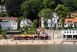 View of beach on River Elbe at Ovelgonne outside Hamburg in Germany