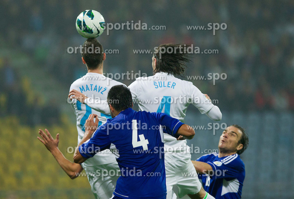 Tim Matavz and Marko Suler of Slovenia during football match between National teams of Slovenia and Cyprus in 3rd Round of Group E of FIFA World Cup 2014 Qualification on October 12, 2012 in Stadium Ljudski vrt, Maribor, Slovenia. (Photo By Vid Ponikvar / Sportida)