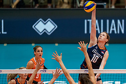 04-08-2019 ITA: FIVB Tokyo Volleyball Qualification 2019 / Netherlands, - Italy Catania<br /> last match pool F in hall Pala Catania between Netherlands - Italy for the Olympic ticket. Italy win 3-0 and take the ticket to the Olympics / Lonneke Sloetjes #10 of Netherlands