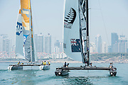Emirates Team New Zealand and SAP. Practice day of the Land Rover Extreme Saling Series regatta in Qingdao China. 30/4/2014