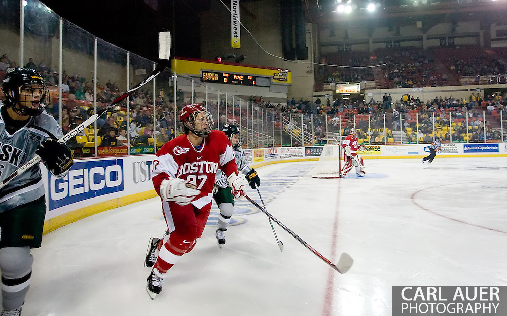 October 13, 2007 - Anchorage, Alaska:  Matt Gilroy (97) of the Boston University Terriers during game 4 of the Nye Frontier Classic at the Sullivan Arena.  University of Alaska-Anchorage and BU would tie 4-4 giving Robert Morris University the title of Nye Frontier Classic Champion.