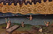 Sinners climbing out of Hell to appeal to Jesus, detail from The Last Judgement, on the right section of the Altarpiece of the Transfiguration of Christ, late 15th century, by Jaume Huguet, 1412-92, in the Cathedral of St Mary, designed by Benito Dalguayre in Catalan Gothic style and begun 1347 on the site of a Romanesque cathedral, consecrated 1447 and completed in 1757, Tortosa, Catalonia, Spain. The altarpiece was originally in the Transfiguration Chapel but is now in the Cathedral Museum. The cathedral has 3 naves with chapels between the buttresses and an ambulatory with radial chapels. Picture by Manuel Cohen