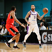Reno Bighorns Guard MARCUS WILLIAMS (3) looks to pass against Raptors 905 Guard AARON BEST (2) during the NBA G-League Basketball game between the Reno Bighorns and the Raptors 905 at the Reno Events Center in Reno, Nevada.