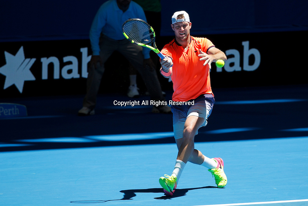 03.01.2017. Perth Arena, Perth, Australia. Mastercard Hopman Cup International Tennis tournament. Jack Sock (USA) plays a fore hand shot during his match against Feliciano Lopez (ESP). Sock Won 3-6, 6-2, 6-3.