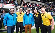 AMSTELVEEN - Michiel Christiaanse, Michiel Otten, Michiel Bruning, Maarten Boxma,  Coen van Bunge  voor de  eerste finalewedstrijd van de play-offs om de landtitel in het Wagener Stadion, tussen Amsterdam en Kampong (1-1). Kampong wint de shoot outs.   COPYRIGHT KOEN SUYK