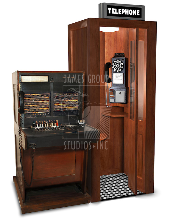 vintage telephone switchboard station and phone booth