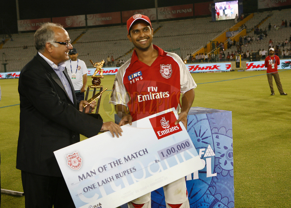 Paul Valthaty receives man of the match award after match 9 of the Indian Premier League ( IPL ) Season 4 between the Kings XI Punjab and the Chennai Super Kings held at the PCA stadium in Mohali, Chandigarh, India on the 13th April 2011..Photo by Money Sharma/BCCI/SPORTZPICS