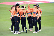 Suzie Bates and Lauren Bell of Southern Vipers celebrate the wicket of Georgia Adams during the Kia Women's Cricket Super League semi-final match between Loughborough Lightning and Southern Vipers at the 1st Central County Ground, Hove, United Kingdom on 1 September 2019.