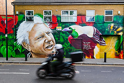 """© Licensed to London News Pictures. 06/05/2019. London, UK.  A moped travels past a new David Attenborough Mural painted on the side of a house in St Matthew's Row, east London.  The mural by urban artist, Jerome shows natural historian, David Attenborough with a message, """"There is no question climate change is happening. The only arguable point is what part humans are playing in it"""". Photo credit: Vickie Flores/LNP"""