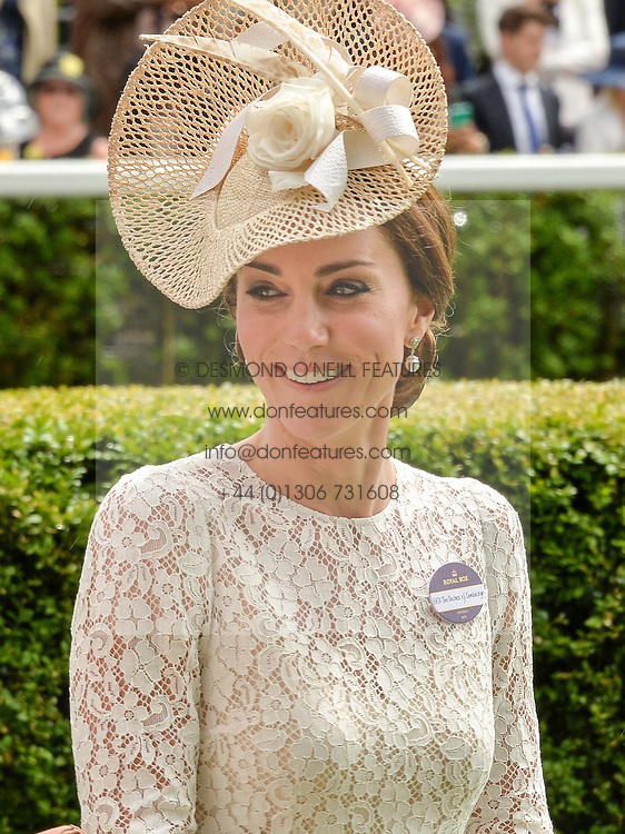 Left to right, the HON.MRS WENTWORTH BEAUMOUNT and HRH The DUCHESS OF CAMBRIDGE at day two of the Royal Ascot 2016 Racing Festival at Ascot Racecourse, Berkshire on 15th June 2016.