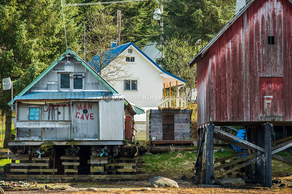 Houses on stilts in Petersburg, Alaska.