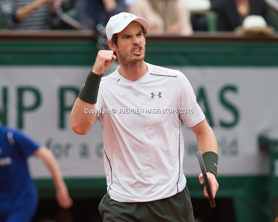 Andy Murray (GBR) macht die Faust und jubelt,Jubel,Emotion, Herren Finale, Endspiel,<br /> <br /> Tennis - French Open 2016 - Grand Slam ITF / ATP / WTA -  Roland Garros - Paris -  - France  - 5 June 2016.