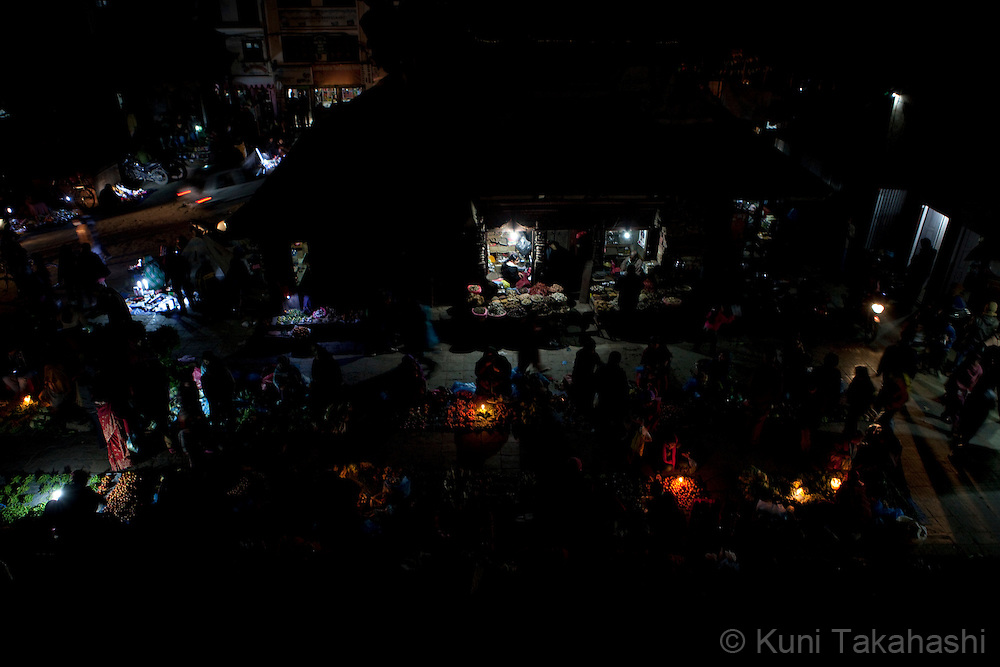 (Jan 4, 2012 - Kathmandu, Nepal).Outdoor market has limited lights during power outage in Kathmandu, Nepal, on Jan 4, 2012. For the last several years, nearly 800,000 people of the capital city faced up to 16 hours of blackouts every day, mainly caused by political instability. Nepal is said to be second only to Brazil in terms of water resources but the government has been incapable of harnessing hydropower..(Photo by Kuni Takahashi)