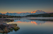 The sun rises over Mt McKinley at Wonder lake in Denali National Park, Alaska in August