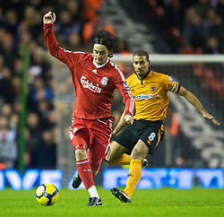 LIVERPOOL, ENGLAND - Saturday, December 26, 2009: Liverpool's Alberto Aquilani in action against Wolverhampton Wanderers during the Premiership match at Anfield. (Photo by: David Rawcliffe/Propaganda)