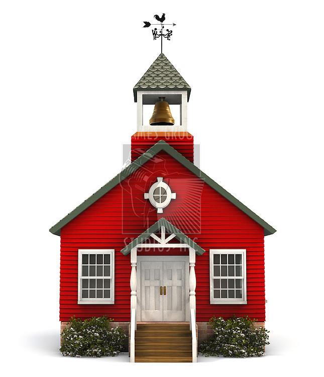 Front facade of a little red American schoolhouse on white