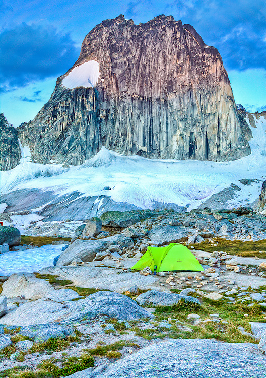 One of the camp sites at Applebee Campground Bugaboo Provincial Park, British Columbia, Canada.  Snowpatch Sprire rises in the back ground.
