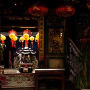 Yellow lanterns hang in Bei Ji Dian Temple, Yu Jin Township, Tainan County, Taiwan