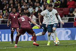 March 22, 2019 - Madrid, Spain - Argentina's Leo Messi and Venezuela's Moreno during International Adidas Cup match between Argentina and Venezuela at Wanda Metropolitano Stadium. (Credit Image: © Legan P. Mace/SOPA Images via ZUMA Wire)