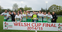 NEWTOWN, WALES - Saturday, May 2, 2015: The New Saints captain Paul Harrison holds the Welsh Cup as his side celebrate after the 2-0 victory over Newtown in the FAW Welsh Cup Final match at Latham Park. (Pic by Ian Cook/Propaganda)
