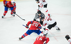 Kristian Forsberg of Norway vs Tanner Richard of Switzerland during the 2017 IIHF Men's World Championship group B Ice hockey match between National Teams of Norway and Switzerland, on May 7, 2017 in Accorhotels Arena in Paris, France. Photo by Vid Ponikvar / Sportida