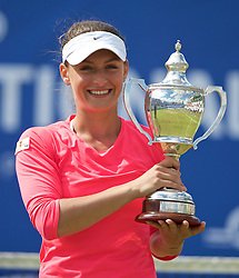 LIVERPOOL, ENGLAND - Sunday, June 21, 2015: Women's 2015 Champion Ana Bodgan (ROM) holds the Boodles Trophy during Day 4 of the Liverpool Hope University International Tennis Tournament at Liverpool Cricket Club. (Pic by David Rawcliffe/Propaganda)
