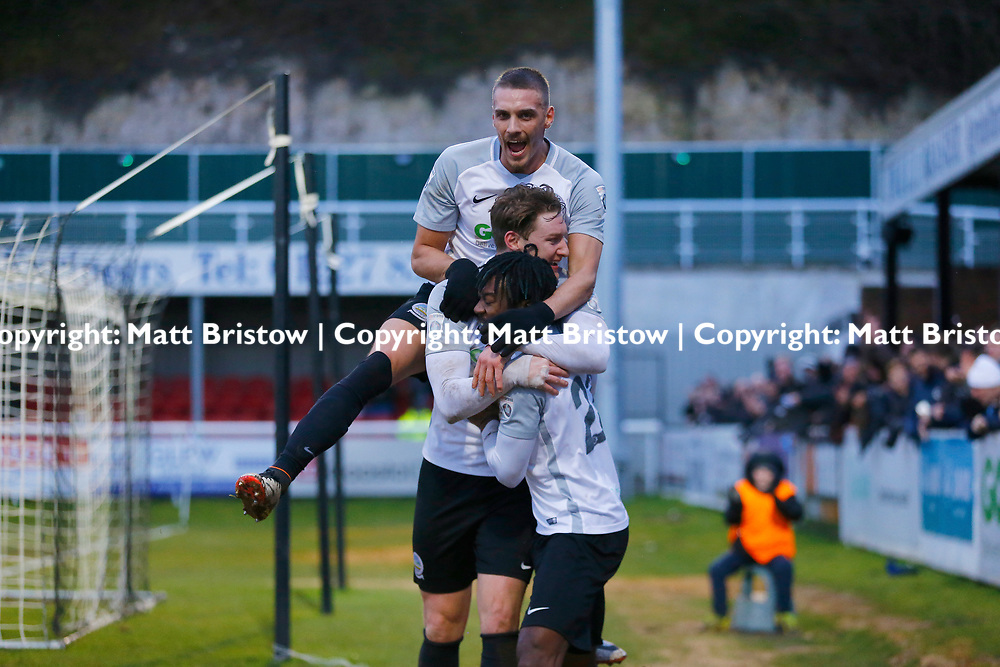 team mates flock to Dover's forward Ryan Bird to celebrate his goal during the The FA Trophy match between Dover Athletic and Leyton Orient at Crabble Stadium, Kent on 3 February 2018. Photo by Matt Bristow.
