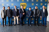 "Rafael Alkorta, Donato, Tv Hosts Michael Robinson, Raul Ruiz, Pedja Mijatovic and Gregorio Manzano during the presentation of the new tv program #0 of Movistar+ ""Caos FC"" at Ciudad del Futbol of Las Rozas in Madrid. November 21, Spain. 2016. (ALTERPHOTOS/BorjaB.Hojas)"