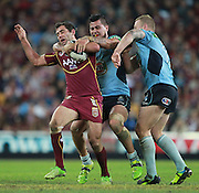 CAMERON SMITH - QUEENSLAND MAROONS - STATE ORIGIN GAME 2 - 26TH JUNE 2013. Action from the 2013 NRL State of Origin Rugby League Game 2 between the Queensland Maroons v NSW Blues played at Suncorp Stadium, Brisbane Australia. This image is for Editorial Use Only. Any further use or individual sale of the image must be cleared by application to the Manager Queensland Rugby League Commercial Department. PHOTO : SMP IMAGES