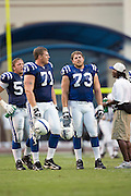 JACKSON, MS - AUGUST 26:  Offensive tackle Ryan Diem and guard Jake Scott of the Indianapolis Colts during a against the New Orleans Saints on August 26, 2006 at Veterans Memorial Stadium in Jackson, Mississippi.  The Colts won 27 to 14.  (Photo by Wesley Hitt/Getty Images) *** Local Caption *** Ryan Diem and Jake Scott
