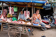 a pork vendor sits a top her mobile cart, duong dong morning market
