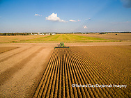 63801-09310 Soybean Harvest, John Deere combine harvesting soybeans - aerial - Marion Co. IL