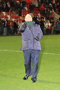 Gary Johnson celebrates the win during the Vanarama National League match between Cheltenham Town and Chester City at Whaddon Road, Cheltenham, England on 5 December 2015. Photo by Antony Thompson.