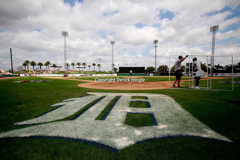 March 9, 2011; Lakeland, FL, USA; A general view as grounds keepers prepare the field for a spring training exhibition game between the Philadelphia Phillies and the Detroit Tigers at Joker Marchant Stadium.  Mandatory Credit: Derick E. Hingle-US PRESSWIRE