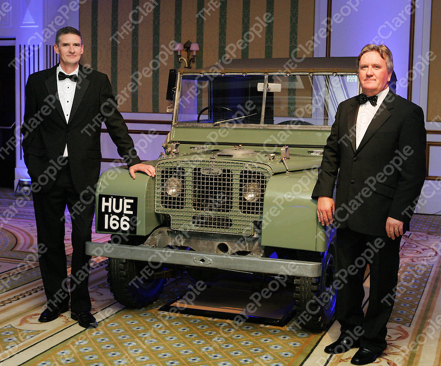 Attending the recent Land Rover 60th Anniversary event were (l-r) Clare Land<br /> Rover dealer Liam Cleary of Liam Cleary Car Sales and David Harpur, managing<br /> director of Land Rover Ireland, pictured with ?Old Hughie?, the first Land<br /> Rover ever built, which still drives today.