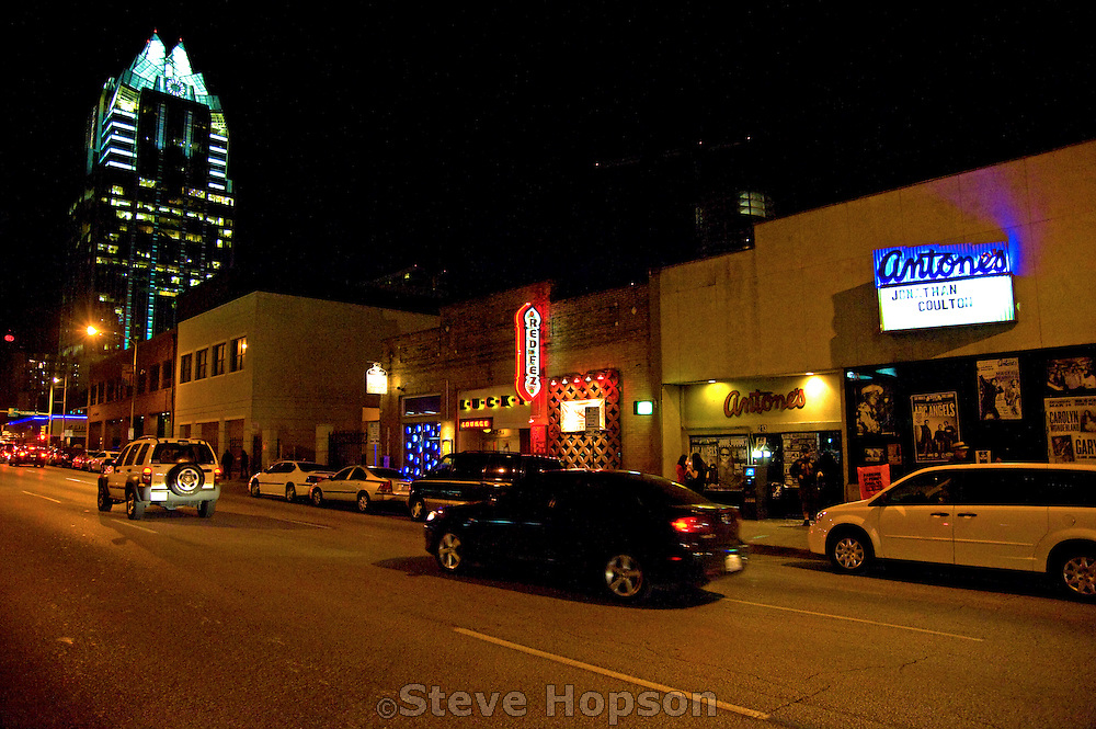 Antones club and the Austin downtown skyline during South by Southwest 2009, Austin Texas, March 15, 2009.
