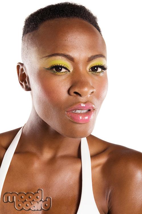 Close up of young African American woman in bikini
