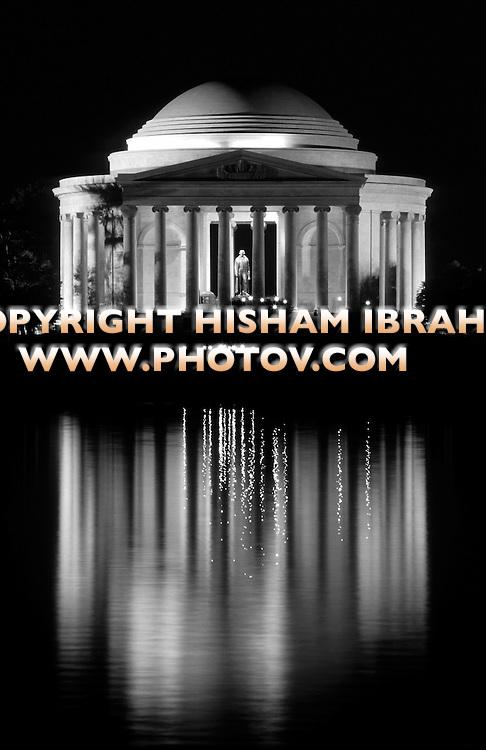 Jefferson Memorial Illuminated at Night with reflection in the Tidal Basin, Washington DC, USA