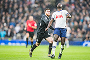 Aaron Connolly (Brighton) & Davinson Sanchez (Tottenham) during the Premier League match between Tottenham Hotspur and Brighton and Hove Albion at Tottenham Hotspur Stadium, London, United Kingdom on 26 December 2019.